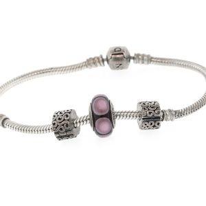 """Authentic PANDORA Barrel Clasp Bracelet 7"""" 925 ALE"""